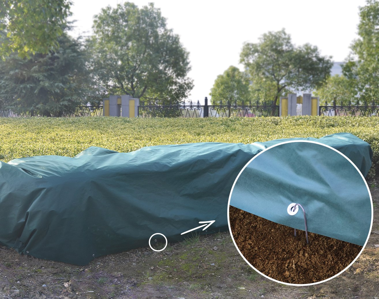 Agfabric Warm Worth Super-Heavy Floating Row Cover & Plant Blanket Kit with Pins, 1.5oz Fabric of 7x20ft for Frost Protection, Harsh Weather Resistance& Seed Germination, Dark Green