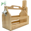 Bamboo Wine Rack Glass Bottle Holder With Bottle Opener and Paddle For picnic and party