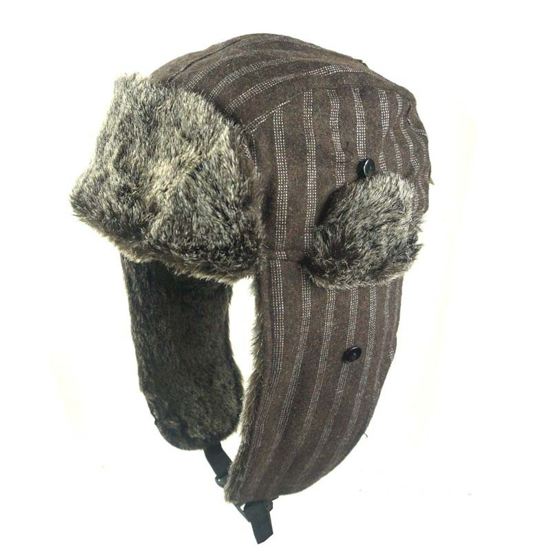 Women Men Winter City Hunter Checkered Jacquard Trapper Bomber Cap Hat w/ Faux Fur Mens Winter Hats Ear Flaps