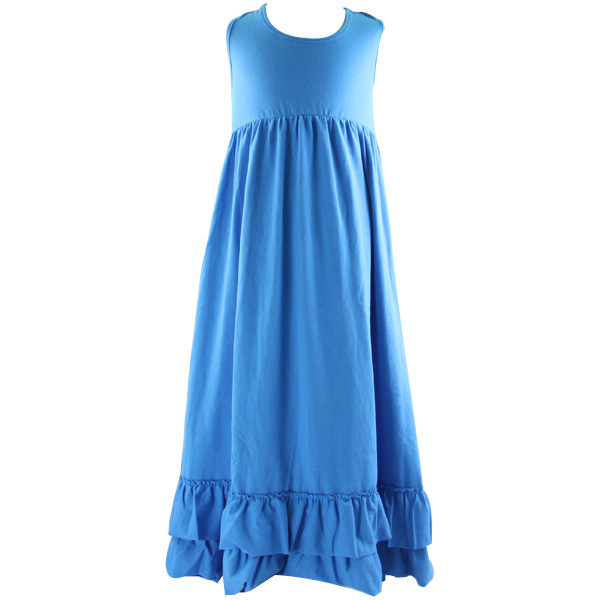 wholesale kids summer beautiful model dresses sleeveless pure color ruffle long maxi dresses for kids