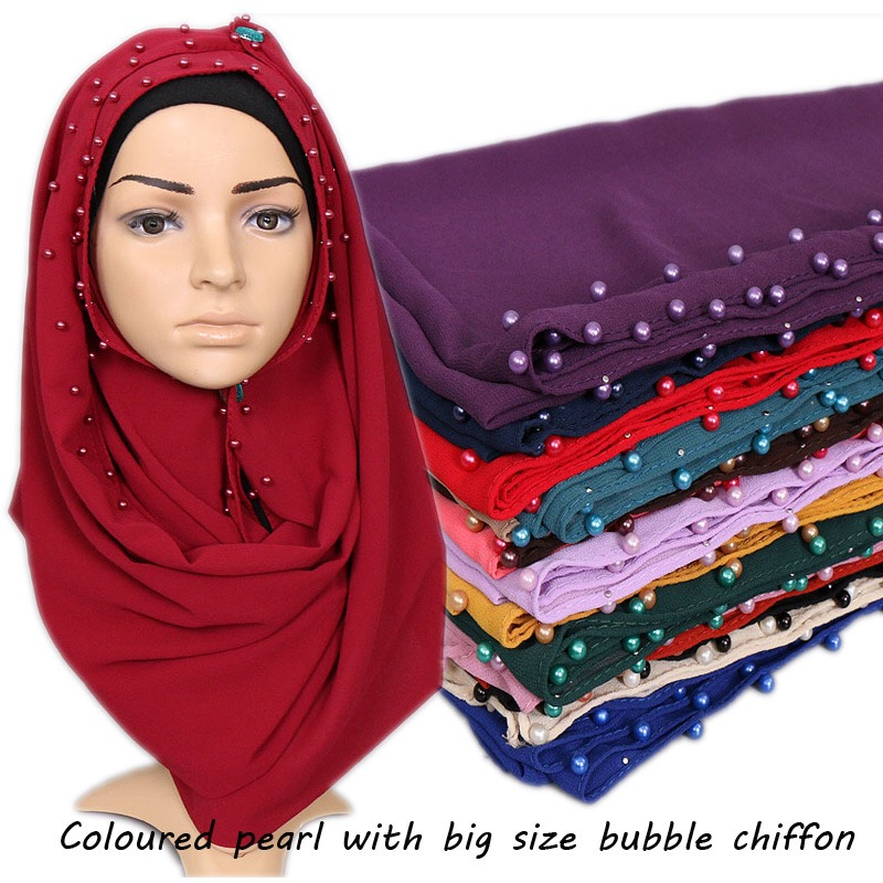 Nice Colorful Pearl Bubble Chiffon Hijab Plain Beads Scarves Big Size Scarf Factory Sale Muslim Scarves