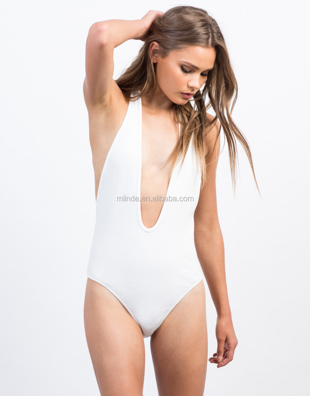 24eec74fdb532 Plunging Ribbed Halter Bodysuit Sexy Deep V Neck White Tights Leotards  Stretchy Ribbed Slip On Top