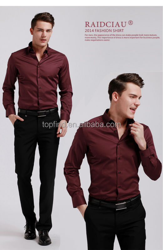 Yiwu Manufacturer Long Sleeve Burgundy Men Dress Shirts - Buy Yiwu ...