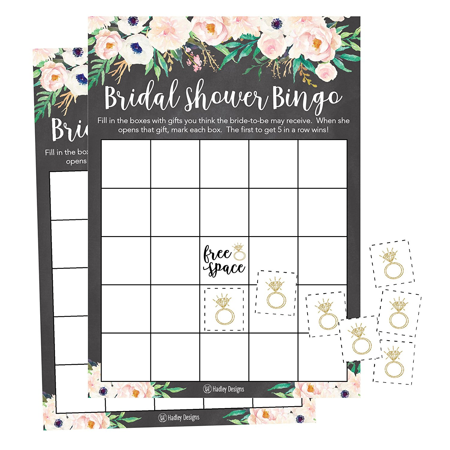 Get Quotations 25 Rustic Vintage Pink Flower Bingo Game Cards For Bridal Wedding Shower And Bachelorette Party