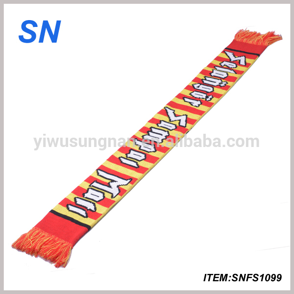 Long Style of Length and 100% Acrylic knitted Custom Football Scarf
