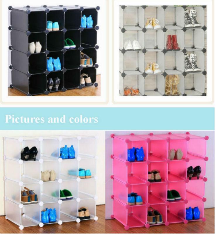 Interlocking 16 Pairs Cube Shoe Organizer Room Storage In ...