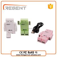 funny mini robot usb hub 4 port with colorful design
