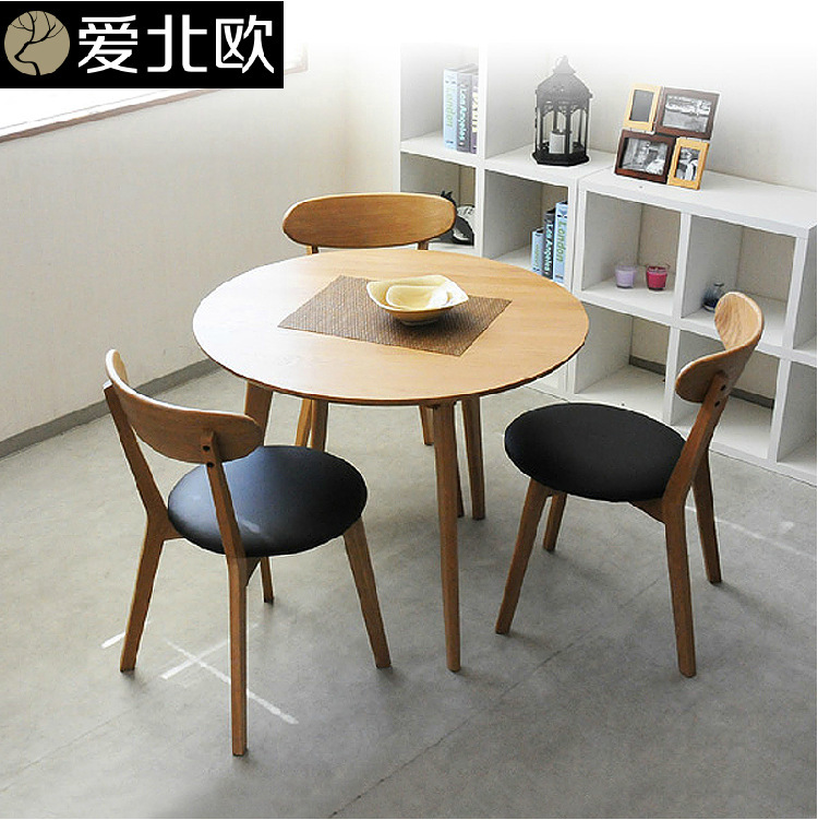 Small Wood Table And Chairs: Round Table / Modern Small Family Solid Wood Table And