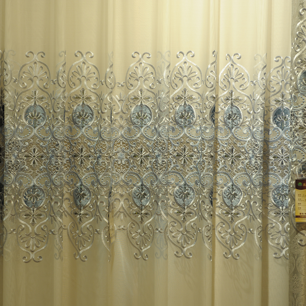 embroidered sheer voile curtain fabric, embroidered sheer voile