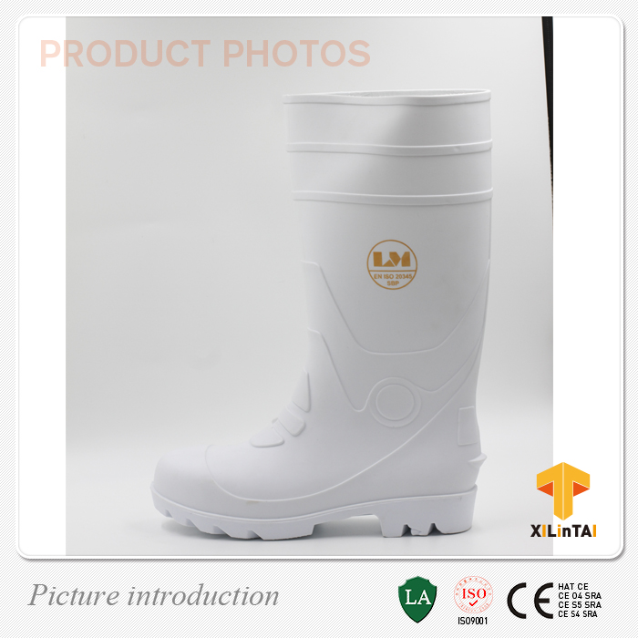 Knee Boots Height Natural PVC Safety Boots with a Steel Toe