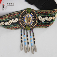 hand made natural animal shell hair accessory headband for belly dance tribal style hair band