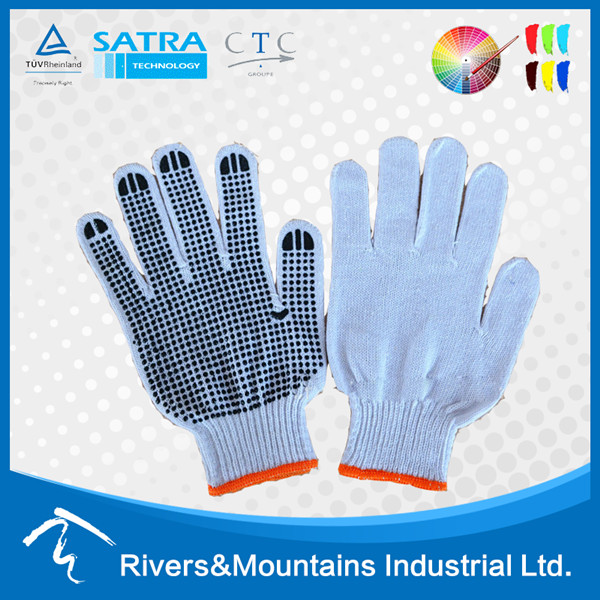 2017 Factory price 10G 100% cotton gloves with PVC Dots