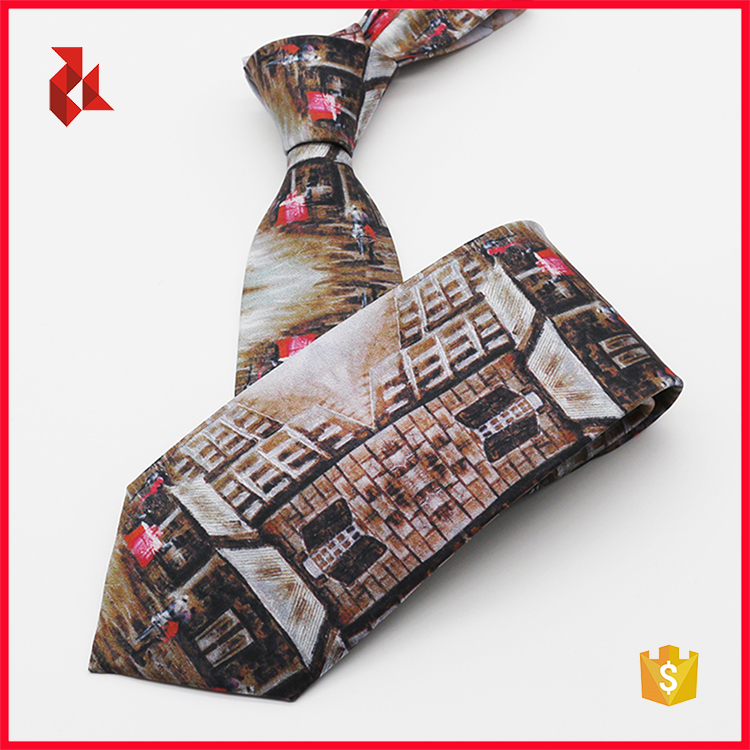 Customized 100% Pure Silk Mens Printed Ties