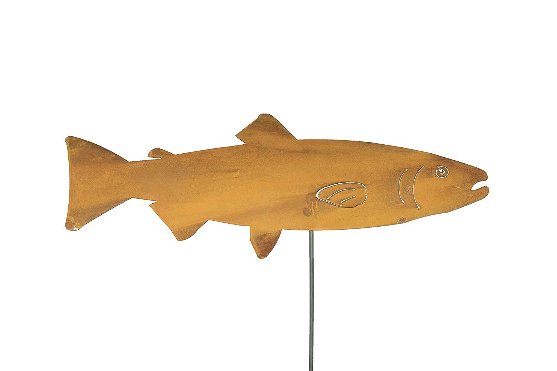 BLUE LUCA Lake Trout Fish Stake | Yard Art Sculptures | Yard Art Decor | Metal Yard Art Sculptures | Yard Art Statues | Garden Art Sculpture | Gardens Art Stakes | Garden Art Fish