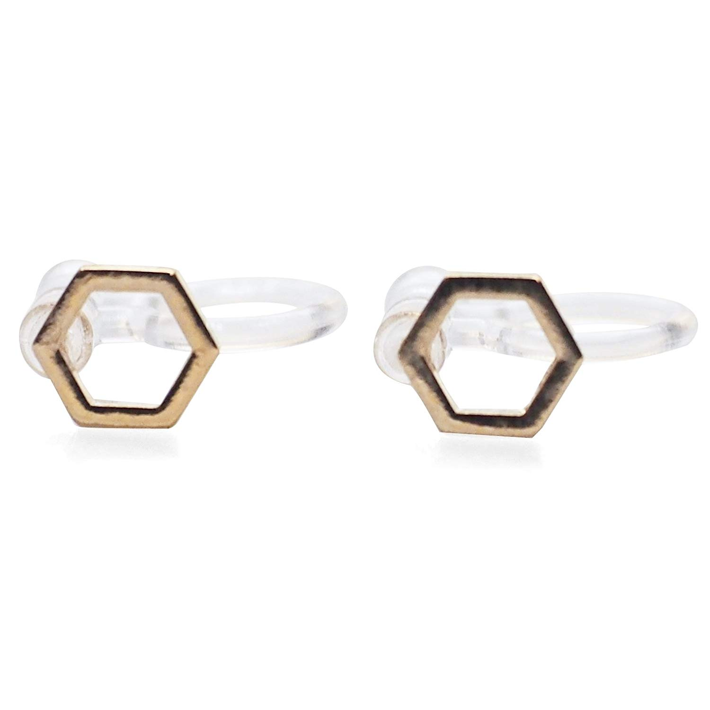 Miyabi Grace Women's Comfortable Modern Minimalist Hexagon Simple Invisible Clip On Stud Earrings Gold tone
