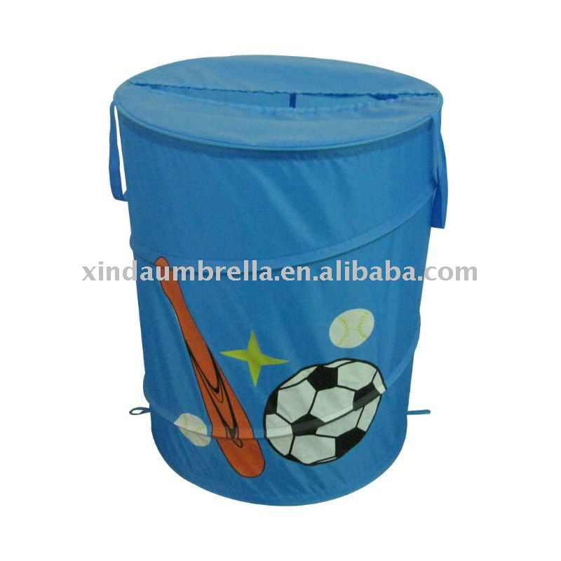 football printing folded with cover laundry basket hamper