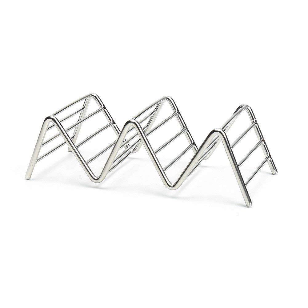 Taco Holder Set, 3-Pack Stainless Steel Mexico Tacos Holders Stand, Rustproof Taco Rack Hold 2 or 3 Hard or Soft Taco Shells Taco Truck Tray Style Oven Safe for Baking (3-PACK)