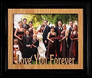 8x10 LOVE YOU FOREVER Landscape Photo Laser Name Frame ~ BLACK Frame