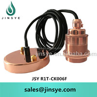 Socket E27 Copper Suspension Lamp With Metal Canopy