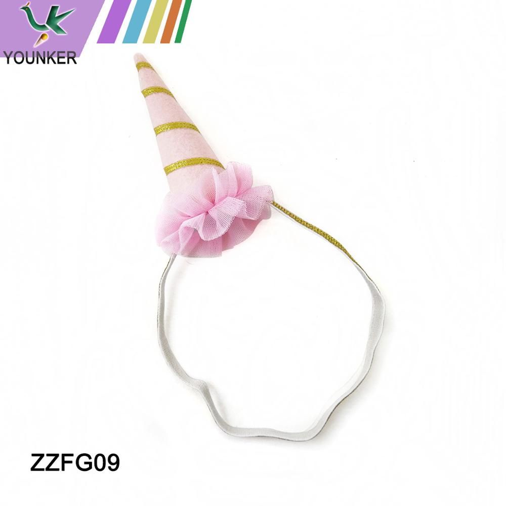 Wholesale Kids Party Holiday Birthday Flower Elastic Band Unicorn Horn Hair Headbands