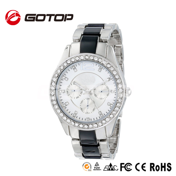 direct buy from China fashion silver fake chrono diamond alloy watch