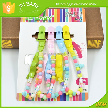 Cartoon Plastic teether pacifier chain baby pacifier clip