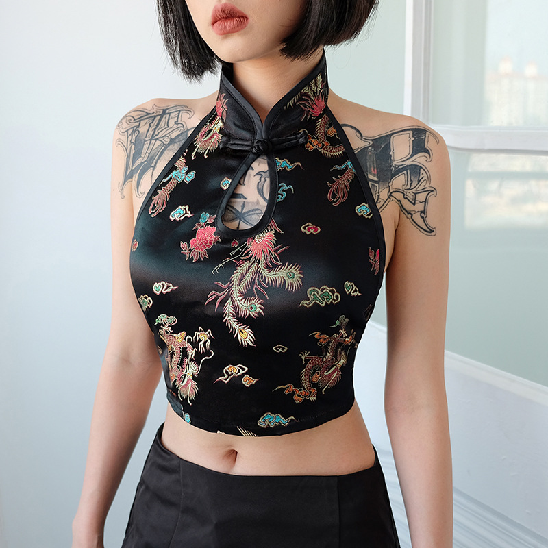 women vest lace up dragon embroidery vintage Tank top 2019 clothing Chinese style backless Halter Top Crop Sexy