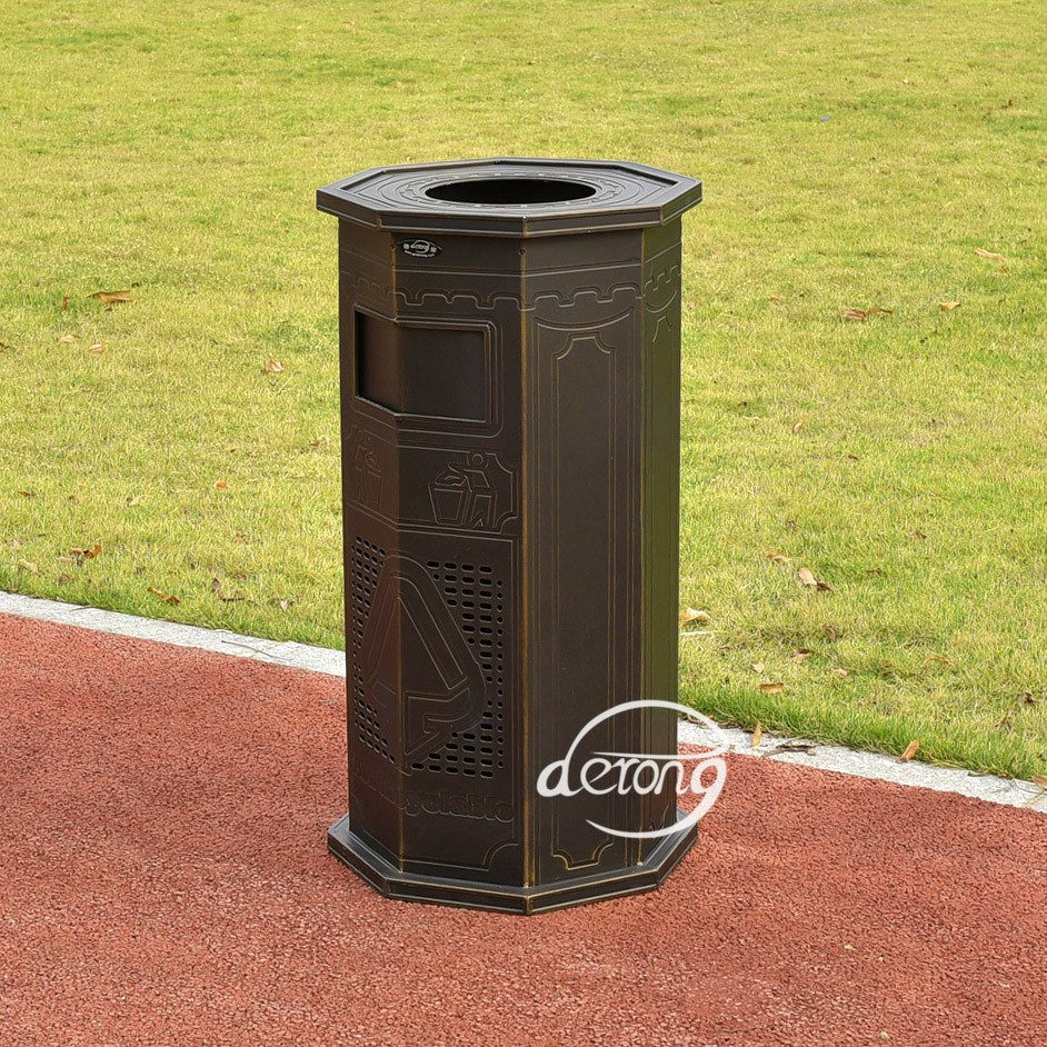 Hexagon Metal Cast Aluminum Trash Can