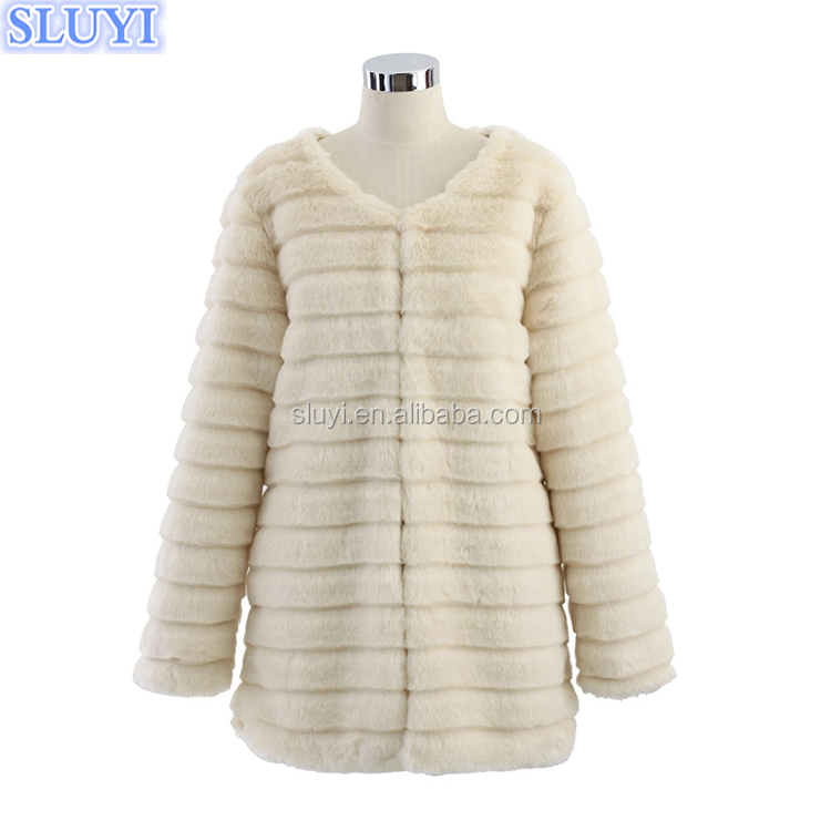 european style ladies winter coats 2017 warm fashion women front zipped jackets cream overcoat quilted white mink faux fur coat