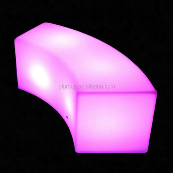 LED Curved Bench Stool Glowing Outdoor Furniture Bar Stool