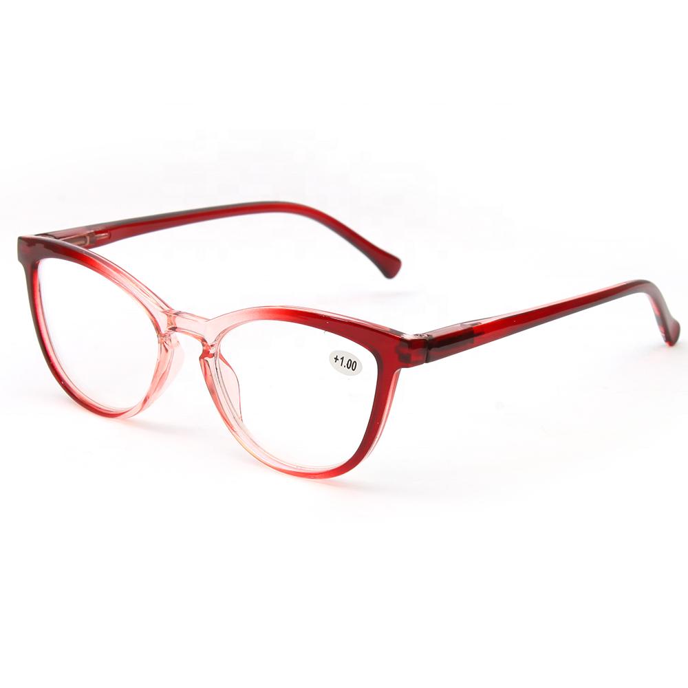 Spring Feet Full Frame Red Translucent Reading Glasses 1.0 1.5 2.0 2.5 3.0 Diopter