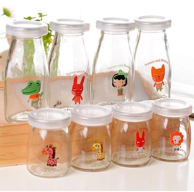 Customized 1000ml Clear Round Glass Milk Bottle with Tinplate Cap Glass Storage Bottle