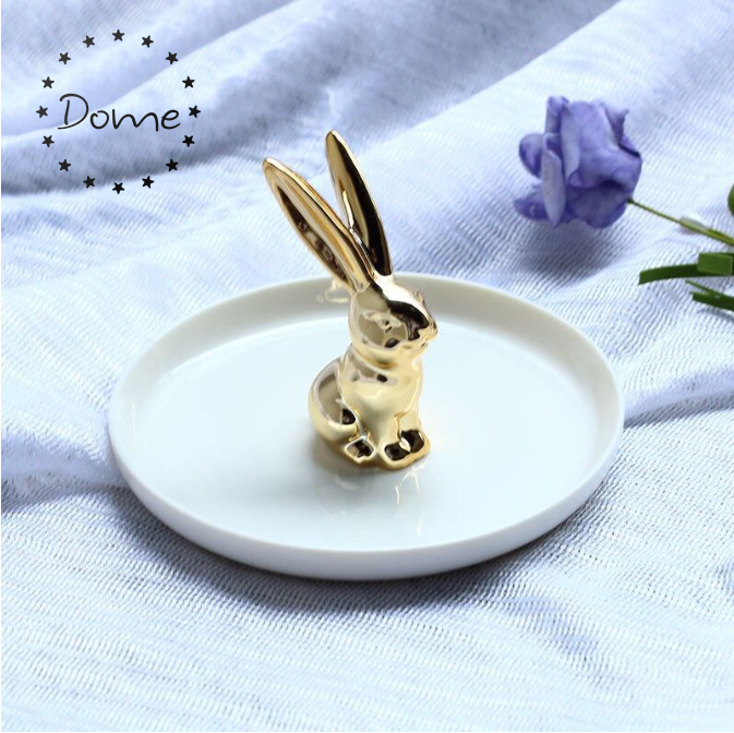 Jewelry Display Round Gold Rabbit Porcelain Ceramic Ring Holder