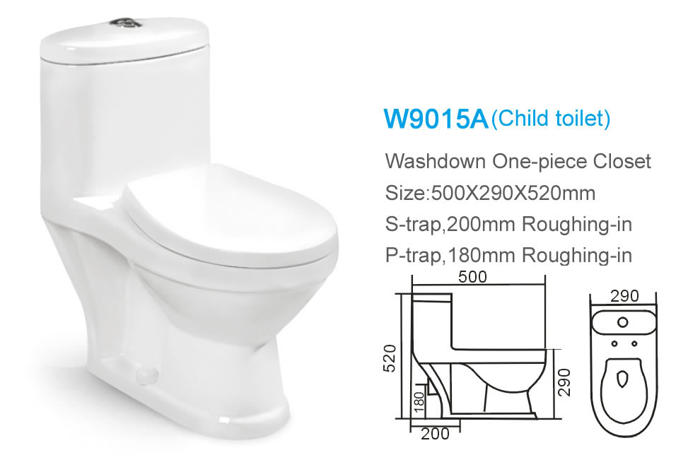 Ceramic Bathroom One Piece Washdown Small Size Children Toilet