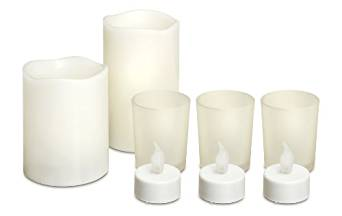 8 Piece Flame Less LED Candle Set with 2 Large Real Scented Wax Candles, 3 LED Teal Lights and 3 Votive's. Mothers Day Gifts, Christmas Candles, Wedding Decor by Perfect Life Ideas