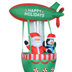 180cm High Christmas Inflatable Penguin and Santa Claus with Plane Design Fire Balloon
