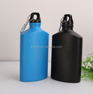 Aluminum water drink bottle with portable flat shape