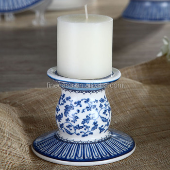 Elegant Ceramic Blue And White Candle Holder Of In China