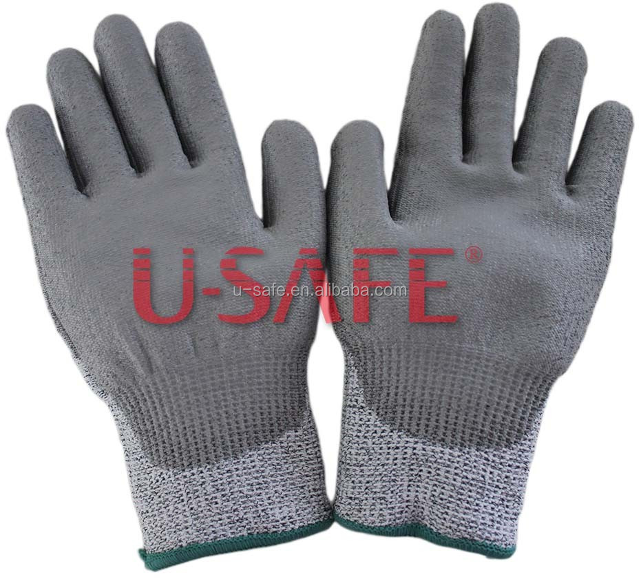 Cut resistance working glove with cut level 5, anti cut safety glove grey color
