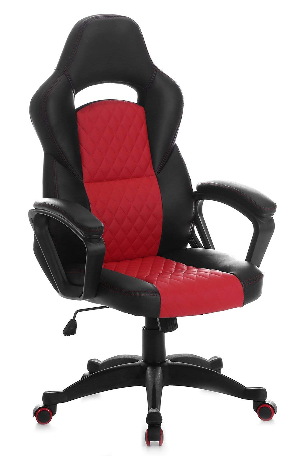 SEATZONE Upgraded Edition Leather Gaming Chair, Racing Style Large Bucket Seat Computer Desk Chair, Executive Office Swivel Chair with Curved Back, Red
