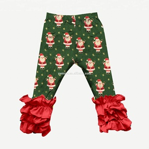 MY-166 Santa prints Christmas pants with red triple ruffle bottom baby girls wholesale boutique children christmas clothing
