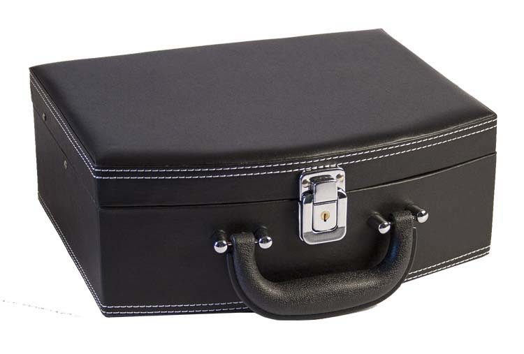 Black Leather Jewelry Box Lockable Makeup Storage Case Buy