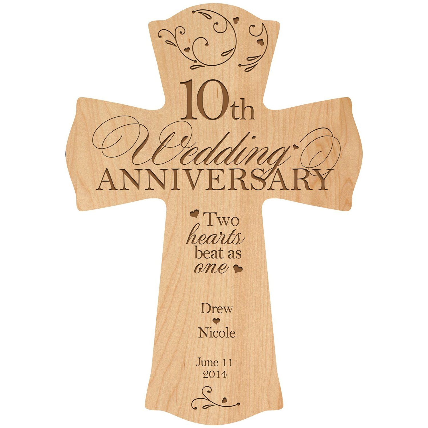 Buy Personalized 10th Wedding Anniversary Wood Wall Cross Gift for ...