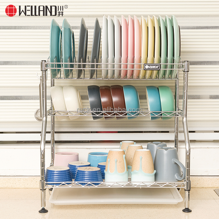 Table Top DIY 3 Tiers Patent Metal Kitchen Dish Rack , Plate Rack