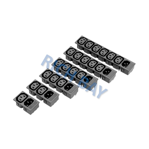 IEC 60320 C13 ac power electrical socket Ganged Outlet and C14 Inlet Snap-in Mounting Solder Tab with Fuse Holder 2 way to 6 way