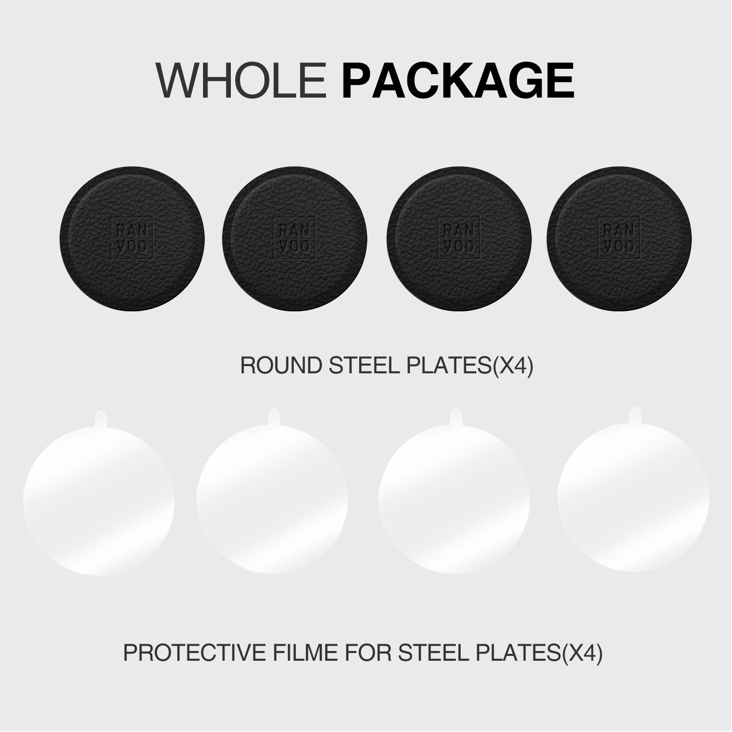 Genuine Leather Mount Metal Plate Kit, RANVOO Metal Plates for Magnetic Car Mount with 3M Adhesive - 4 Transparent Sticker & 4 Round Metal Plates (Compatible with RANVOO Magnetic Car Mounts)