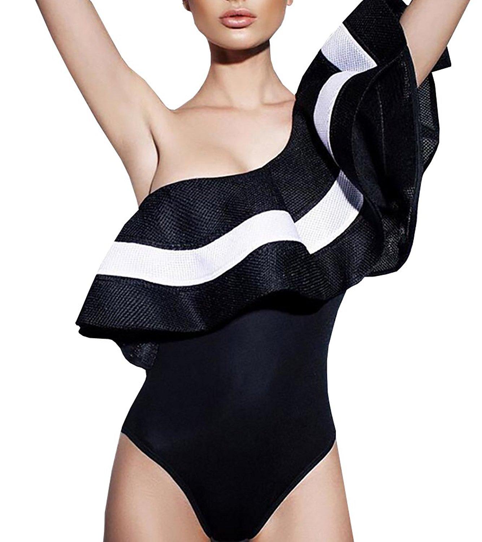 Gobought Women's Striped One Shoulder Ruffle Bodysuit High Waisted Bikini Swimsuit