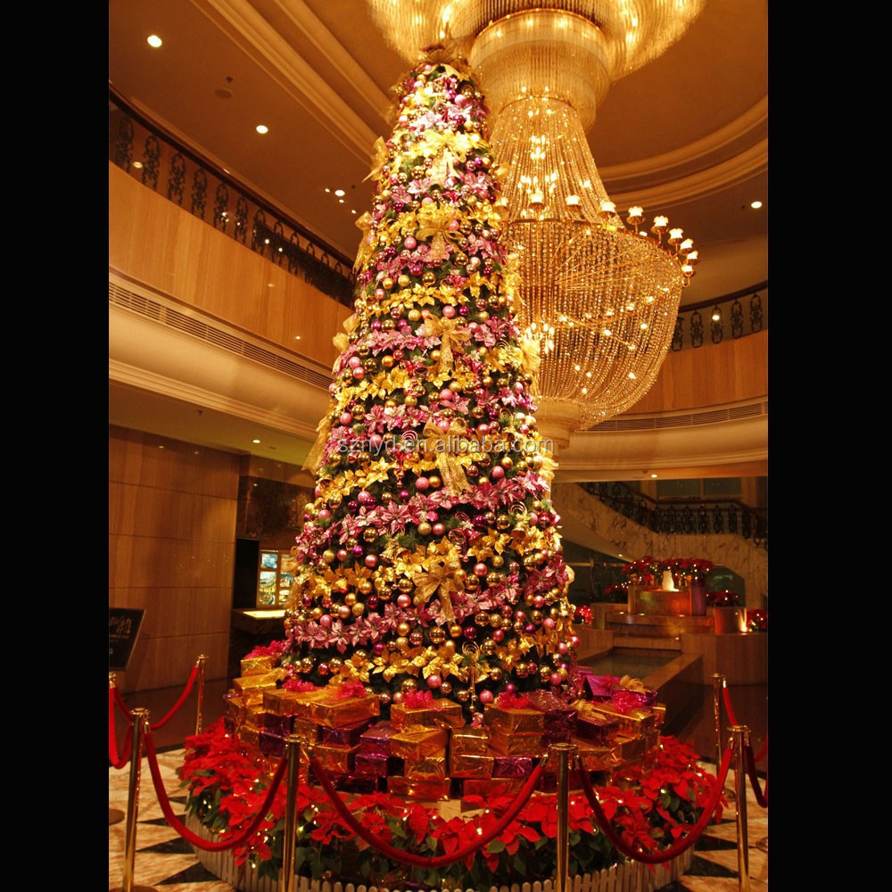 Find Cheap Indoor Christmas Decorations: Large Artificial Lighted Indoor Christmas Tree Decoration