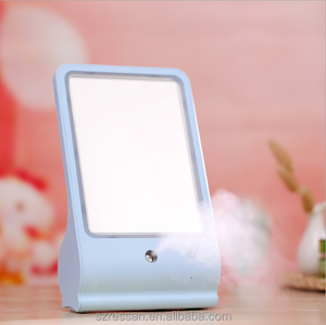 2017 New Design Portable Led Light Makeup Mirror with Mist Facial Steamer Skin Care