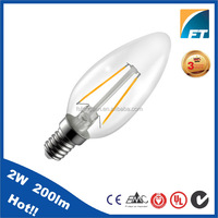 China supplier E14 2W LED Filament Candle Lamp flameless ledcandle light with CE RoHS LVD EMC